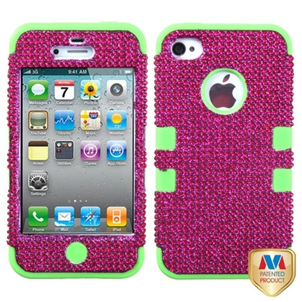 MYBAT Hot Pink/ Green Case for Apple iPhone 4/ 4S