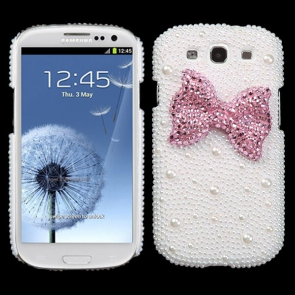 INSTEN Pink Bow Pearl Diamante Case Cover for Samsung Galaxy S III/ S3