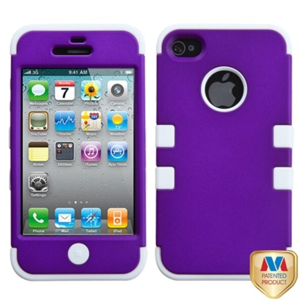 INSTEN Grape/ White Hybrid TUFF Phone Case Cover for Apple iPhone 4/ 4S