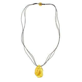 Handcrafted Yellow Freeform Baltic Amber Leather Cord Necklace (Lithuania)