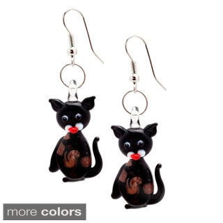 Murano Inspired Glass Kitty Cat Dangle Earrings