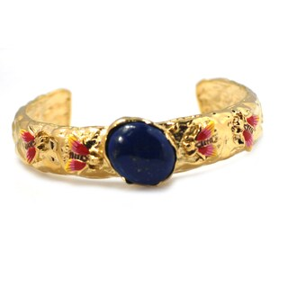 De Buman 14k Gold Plated Genuine Lapis or Created Red Coral Gemstone Cuff Bracelet (2 options available)