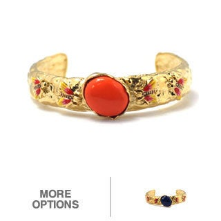 De Buman 14k Gold Plated Genuine Lapis or Created Red Coral Gemstone Cuff Bracelet