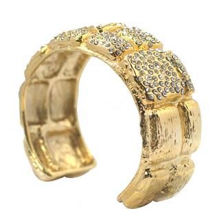 De Buman 14k Gold Plated Crystal Cuff Bracelet