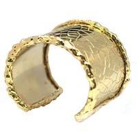 De Buman 14k Gold Plated Hammered Cuff Bracelet