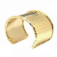De An 14k Gold Plated Hammered Cuff Bracelet