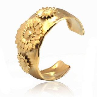De Buman 14k Gold Plated Flower Cuff Bracelet