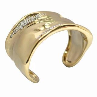 De Buman 14k Goldplated Crystal Cuff Bracelet