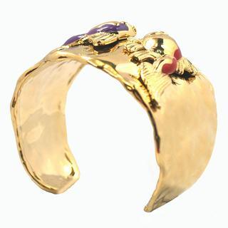 De Buman 14k Gold Plated Enamel Fish Cuff Bracelet