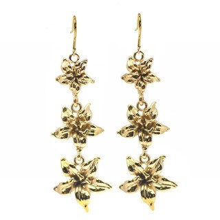 De Buman 14k Goldplated Calla Lily Earrings