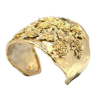 De Buman 14k Goldplated Rose Cuff Bracelet