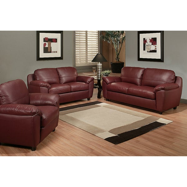 Abbyson living sedona top grain red leather sofa set - Red leather living room furniture set ...