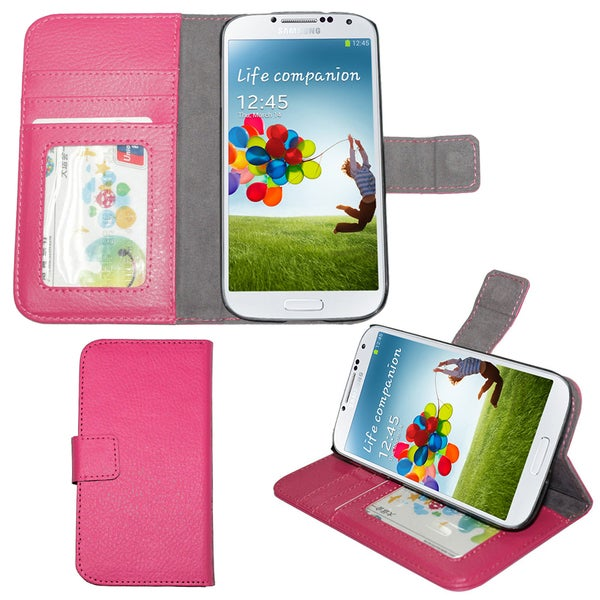 Pink Wallet Case Cover for Samsung Galaxy i9500 S4/SIV with CC/ID Secure Sleeve