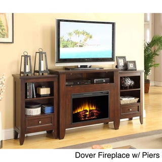 Picket House Dover Mahogany Media Console Electric Fireplace with Optional Piers