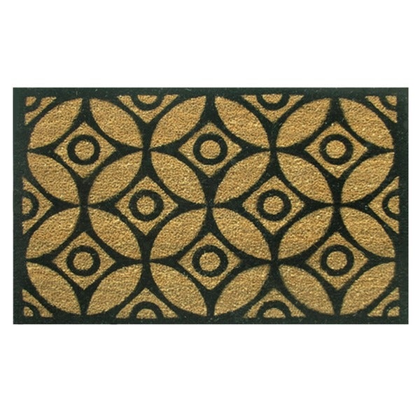 'Circles and Stars' Coir with Vinyl Backing Doormat