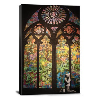 iCanvas Banksy 'Stained Glass Window Graffiti' Canvas Print Wall Art