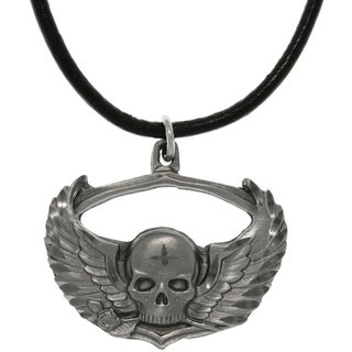 Pewter Winged Skull with Rose Biker Style Necklace
