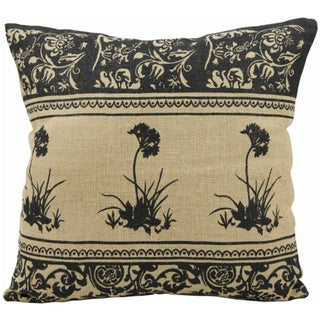 Mina Victory Lifestyle Three Black Flowers Natural Throw Pillow (20-inch x 20-inch) by Nourison