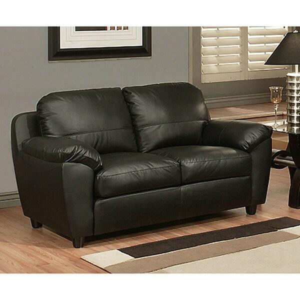 Abbyson living sedona top grain black leather loveseat for Abbyson living sedona leather chaise recliner