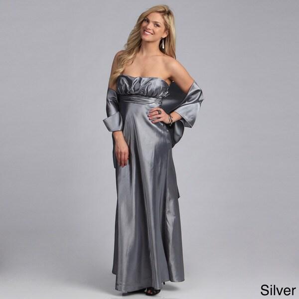 Stanzino Women's Strapless Pleated Long Gown