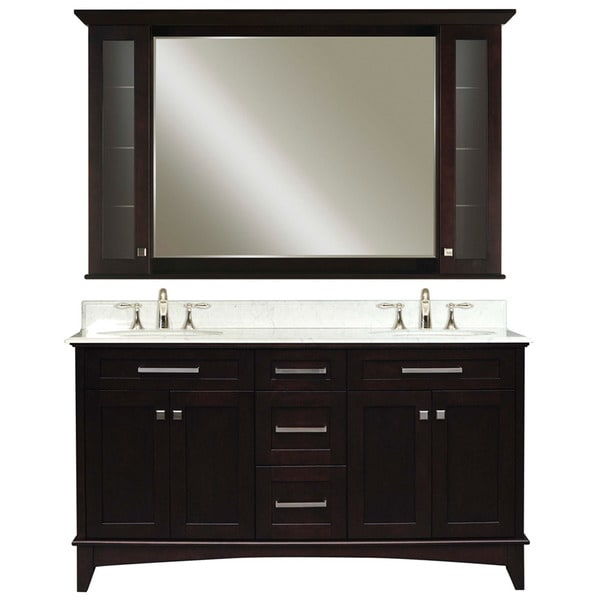 Water Creation Manhattan 60 Inch Dark Espresso Vanity With Marble Top And Matching Medicine Cabinet