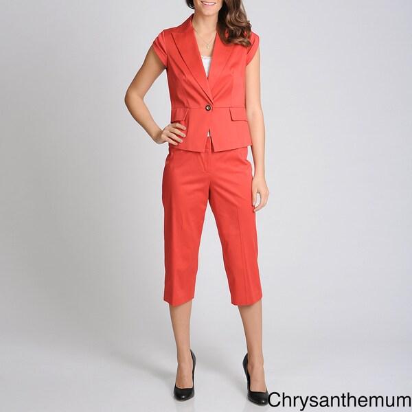 Sharagano Suits Women's Stretch Capri Suit Set