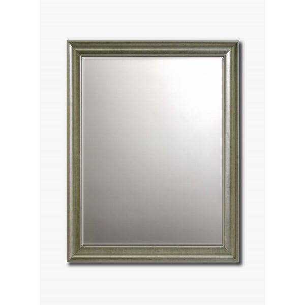 """Old World Silver-Framed Beveled Wall Mirror, 30"""" x 26"""""""
