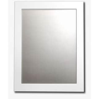 White Satin Framed Beveled Wall Mirror
