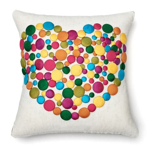 Button Heart 12x12-inch Decorative Pillow