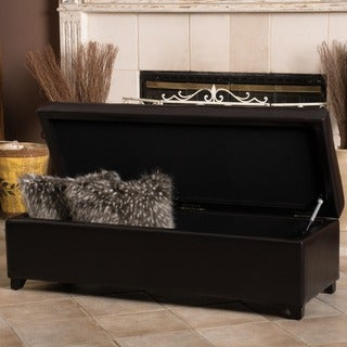 London Espresso Leather Storage Bench by Christopher Knight Home
