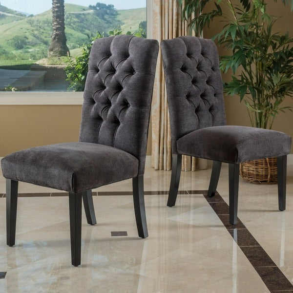 Crown Top Dark Grey Fabric Dining Chair Set Of 2 By Christopher Knight  Home. Crown