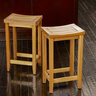 Louisa Wood Backless Barstools (Set of 2) by Christopher Knight Home