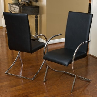 Lydia Black Leather/ Chrome Chairs (Set of 2) by Christopher Knight Home