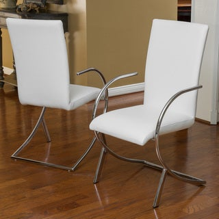 Lydia Off White Leather/ Chrome Chairs (Set of 2) by Christopher Knight Home