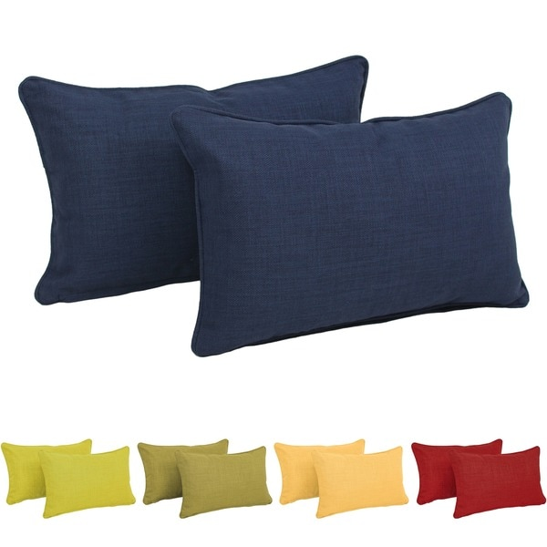 Blazing Needles Indoor/Outdoor Lumbar Support Pillow (Set of 2). Opens flyout.