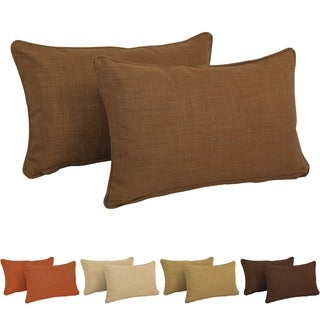 Blazing Needles Indoor/Outdoor Lumbar Support Pillow (Set of 2) - 20 x 12