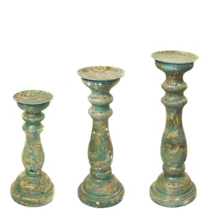 Sicily Distressed Wood Pillar Candle Holders (Set of 3)