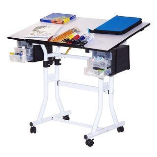 Offex Creation Station Deluxe Rolling Drafting and Hobby Craft Table