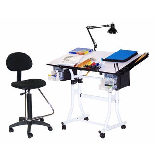 Offex Creation Station 4-piece Drafting and Hobby Craft Table with Chair