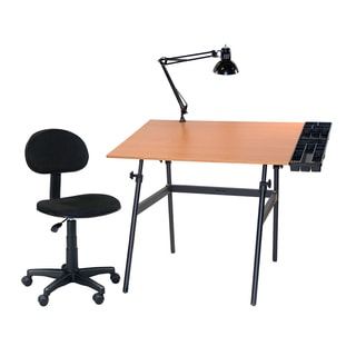 Offex Four-piece Adjustable Drawing/Drafting and Hobby Craft Table Set