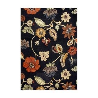 Alliyah Handmade Black New Zealand Blend Wool and Viscose Silk Rug(8' x 10')