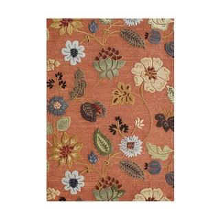 Alliyah Handmade Rust New Zealand Blend Wool and Viscose Silk Rug (8' x 10')