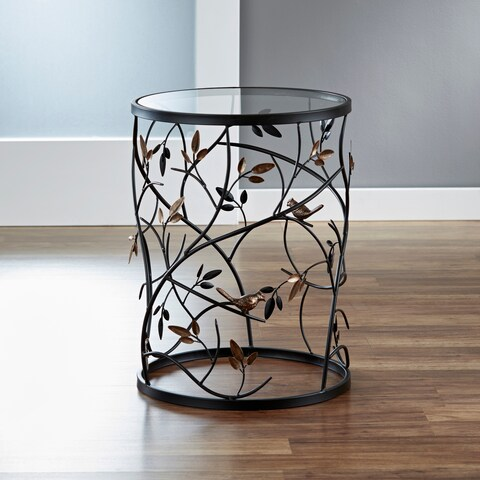 Large 'Leaves' Metal Barrel End Table