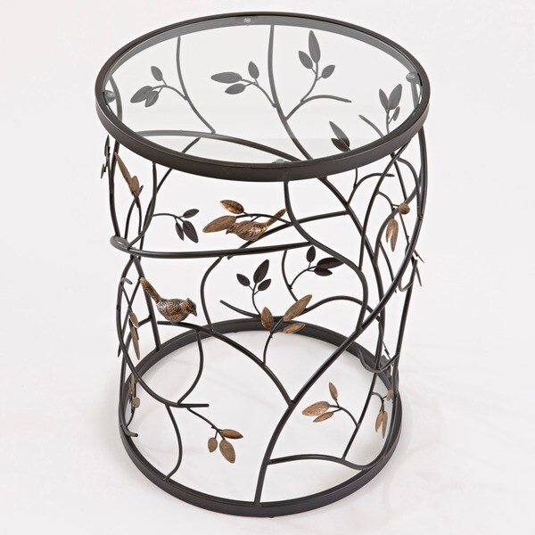 Large U0027Leavesu0027 Metal Barrel End Table   Free Shipping Today   Overstock.com    15289396