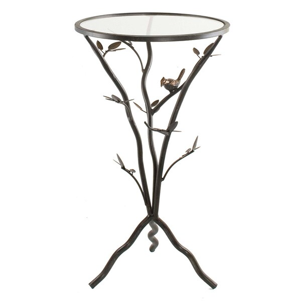 Delightful U0027Glass Birdu0027 Metal End Table   Free Shipping Today   Overstock.com    15289401
