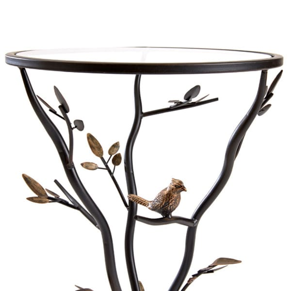 U0027Glass Birdu0027 Metal End Table   Free Shipping Today   Overstock.com    15289401