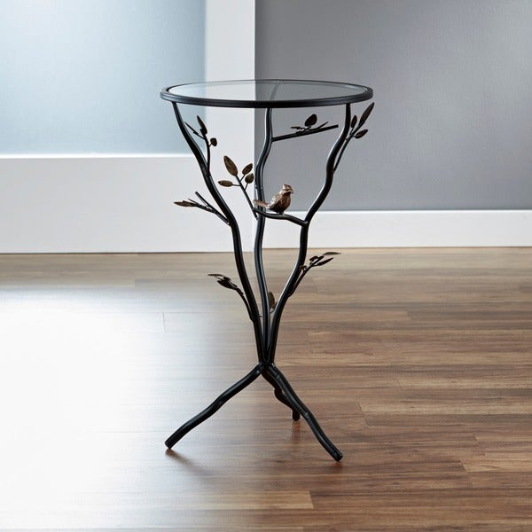Glass Bird Metal End Table Free Shipping Today