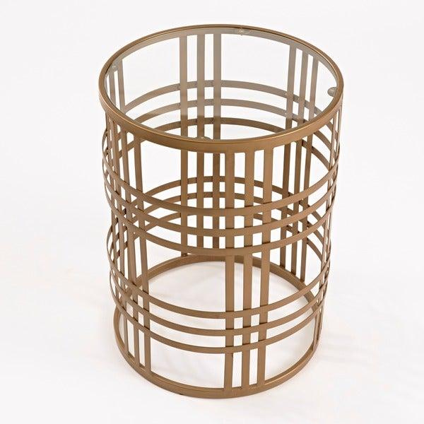 U0027Weaveu0027 Metal Barrel End Table   Free Shipping Today   Overstock.com    15289404