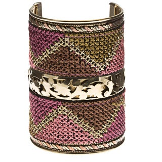Handmade Stitch-Accented Wide Cuff Bracelet (India)