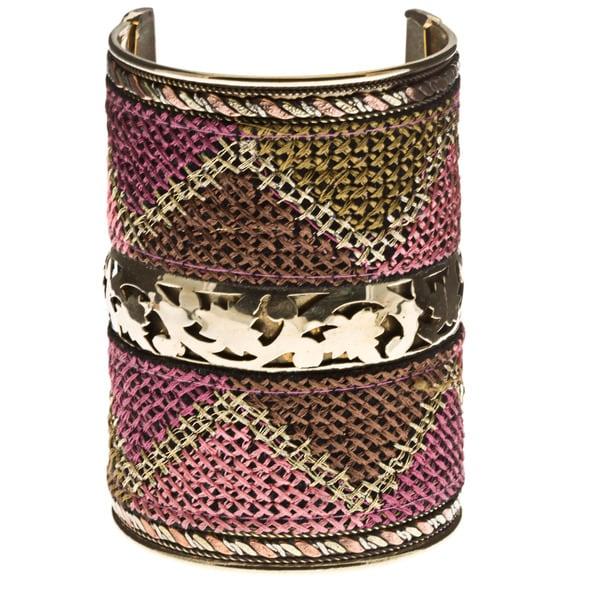 Handmade Stitch-Accented Wide Cuff Bracelet (India)